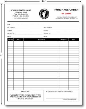 Carbonless Purchase Orders 8.5 x 11 (sku: 100011)