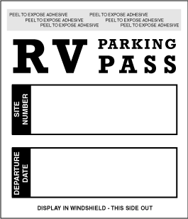 Stock Self Adhesive RV Parking Pass (sku: 200501)