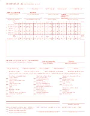 Trucking Company Combination Drivers Daily Log 8.5 x 11 (sku: 100039)