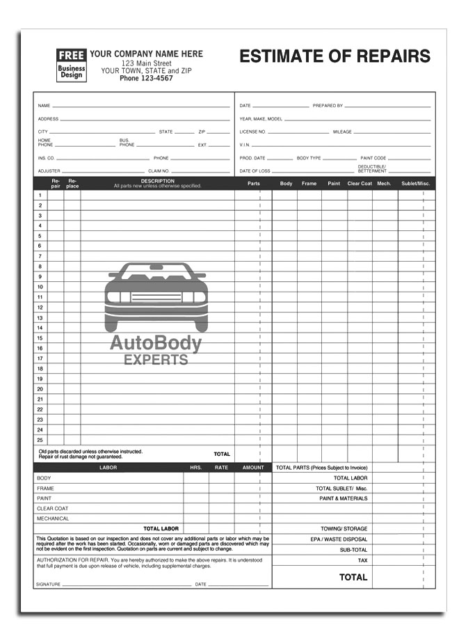 auto repair estimates templates auto body estimate form - Tier.brianhenry.co