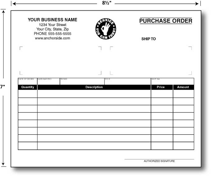 Custom Quote for Generic Sales Invoice 85 x 11 – Generic Purchase Order